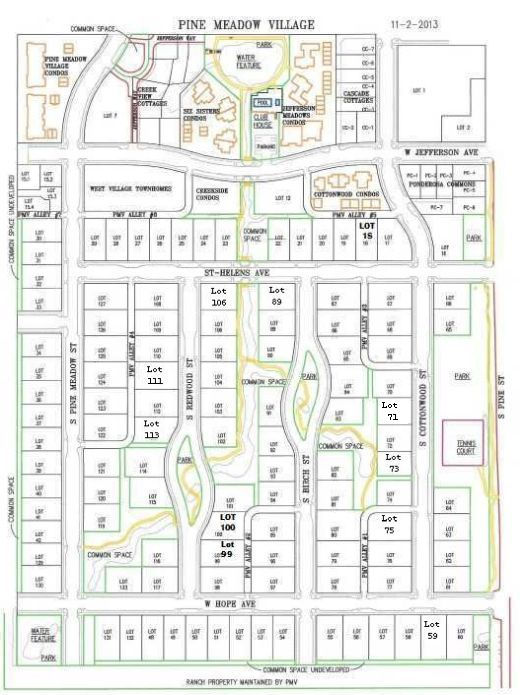 Plat of Pine Meadows in Sisters Oregon showing locations of New Homes and lots by Gertz Fine Homes