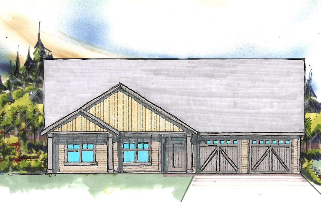 Rendering of New Home under construction in Sisters Oregon by Gertz Fine Homes